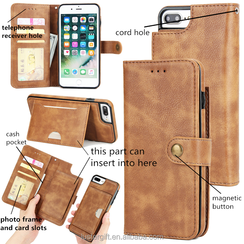 For 6 7 Plus Handmade Kickstand Card Slot Cell Phone Cover Flip Wallet Leather Phone Case for iPhone