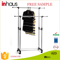High quality doube pole clothes hanging retractable door metal iron pulley clothes drying rack