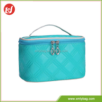 Factory directly blue tote PU leather private label cosmetic bags