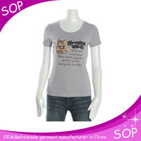 Ladies new fashion round neck funny wholesale t shirts printing
