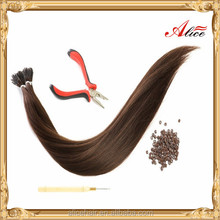 Wholesale double drawn virgin russian micro bead hair extensions