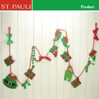 indoor wall hanging artificial red green felt christmas decorative garland