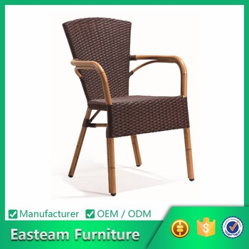 China Bamboo And Modern Outdoor Use Dining Chair Imitated Restaurant Aluminium Poly Rattan Furniture