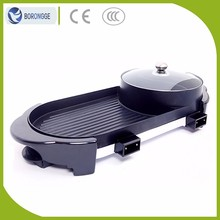 KW-135A Custom Cooking Equipment Two-Flavor Hot Pot Electric Teppanyaki Grill Machine