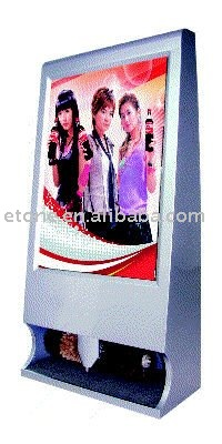 Free-standing 32' LCD advertising displayer with shoe shine polisher
