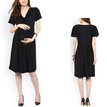 wholesale Pregnant Clothes black tie maternity maxi dress