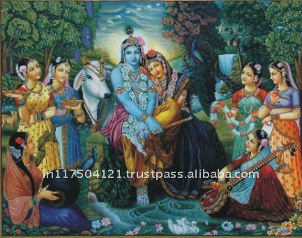 Radha and Krishna with Gopis Painting