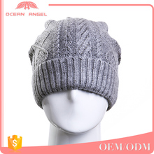 Practical and beautiful wholesale custom grey thick knit slouchy beanies hat