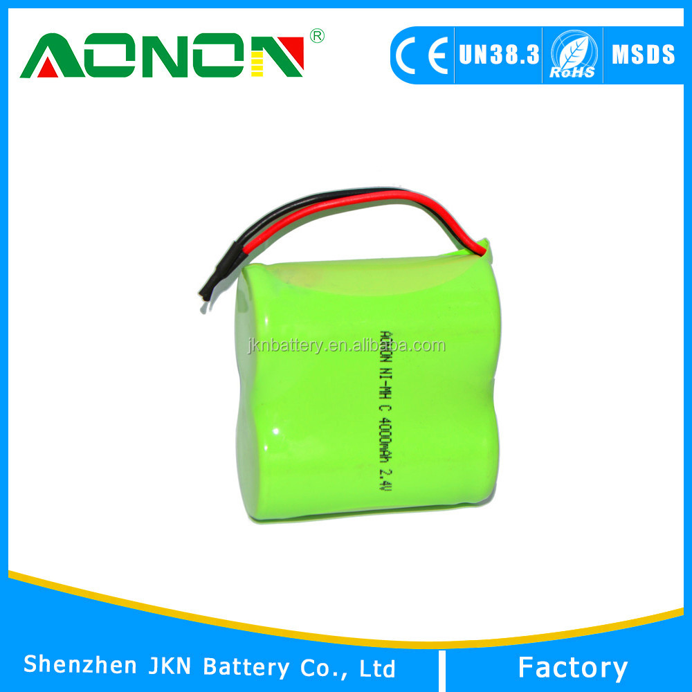 C Size Wholesale NIMH AA 2.4v 4000mAh Ni-mh Rechargeable Battery Pack