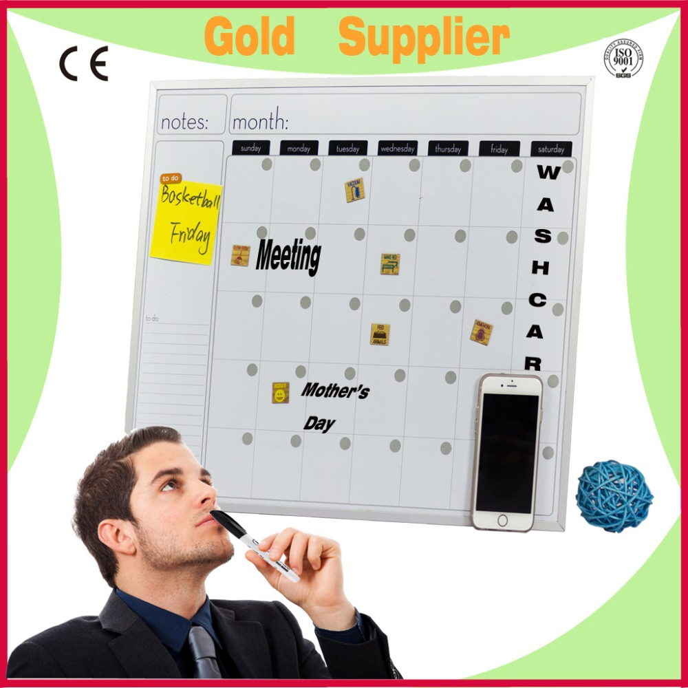 office&school magnetic aluminum framed dry erase board/monthly calendar magnetic whiteboard