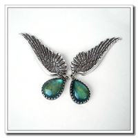 Big crystal engraved feather shape angle wings earrings