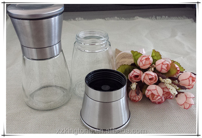 Easy to use glaas thick single wall pepper mill for healthy food