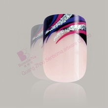 glamourous fake fingers full cover designed nail tips