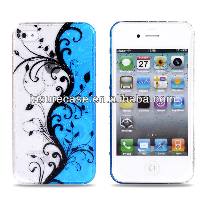 for iphone 4 case,Rain drop Flowers design cover case for iphone 4G