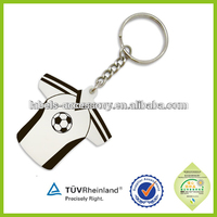 Soft PVC rubber soccer T-shirt shape jersey keychain keyrings