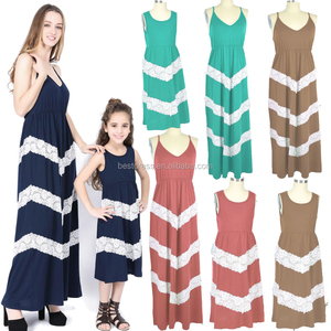 Summer Cute Mommy and Me Boho Striped Maxi Dresses plus size