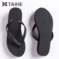Best rubber black white flip flops women and girls latest high heel wedge sandals