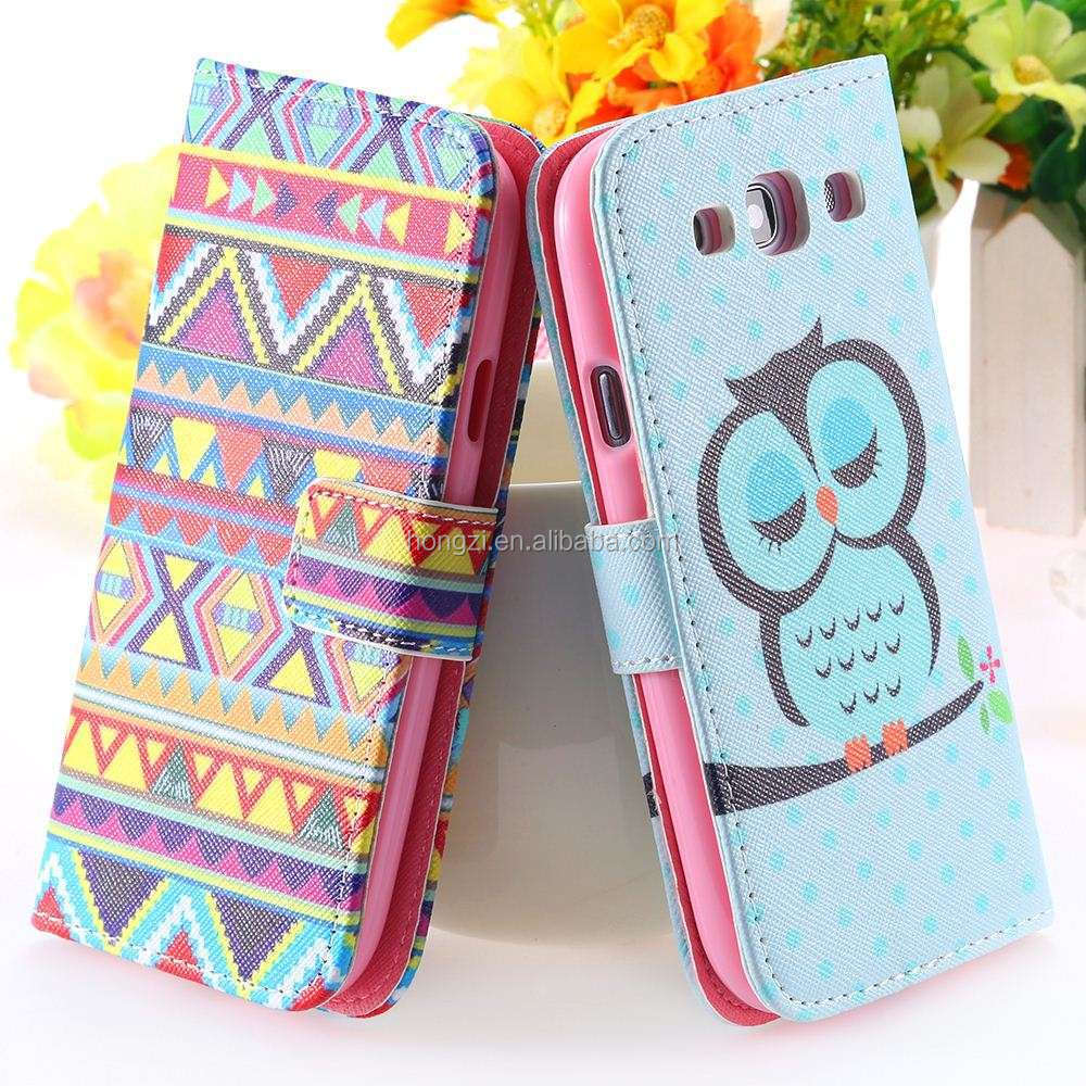 s3 Owl Pattern National Case for Samsung Galaxy S3 SIII i9300 Wallet Stand Flip Leather Wizard Bird Cage Crown Cover
