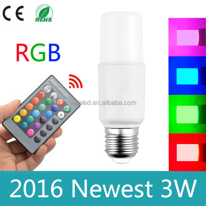 3W RGB LED Light Bulb Lamp E27 16 Colors Changing With 24 keys IR Remote controller Dimmable AC85-265v for Christmas