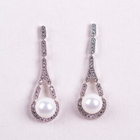 Party decoration wholesale Pearl earring of Micro-inserts CZ Diamond earring dangle earring