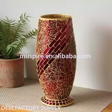Top level latest design mirrored mosaic glass vase for flower