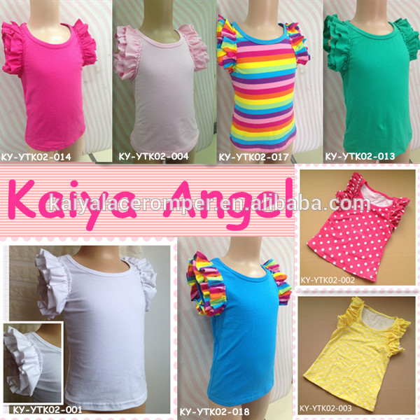 new fashion baby girls flutter sleeve tops,baby girls top design