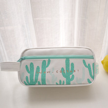 2018 Green Leaves Pencil Case Big Capacity Romantic 2 Zipper Double Layers School Pencil Cases for Girls Stationery Pen Bag