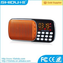 Owned Factory wholesale support unique patented design fm radio mp3 player speaker mini protable speaker for elders