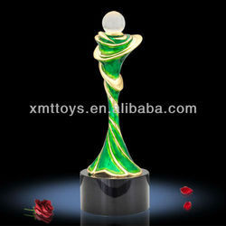 green paint with top ball crystal tennis trophy awards wholesale