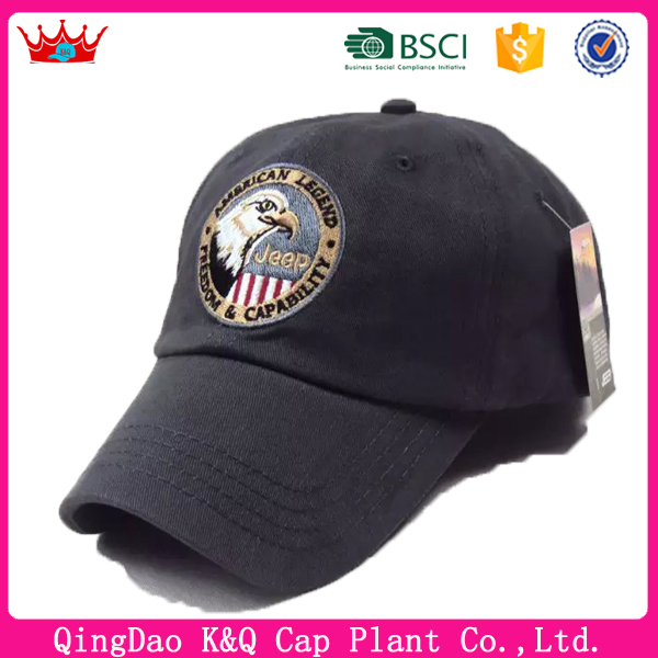 Heigh quality 100%cotton material baseball caps with eagle