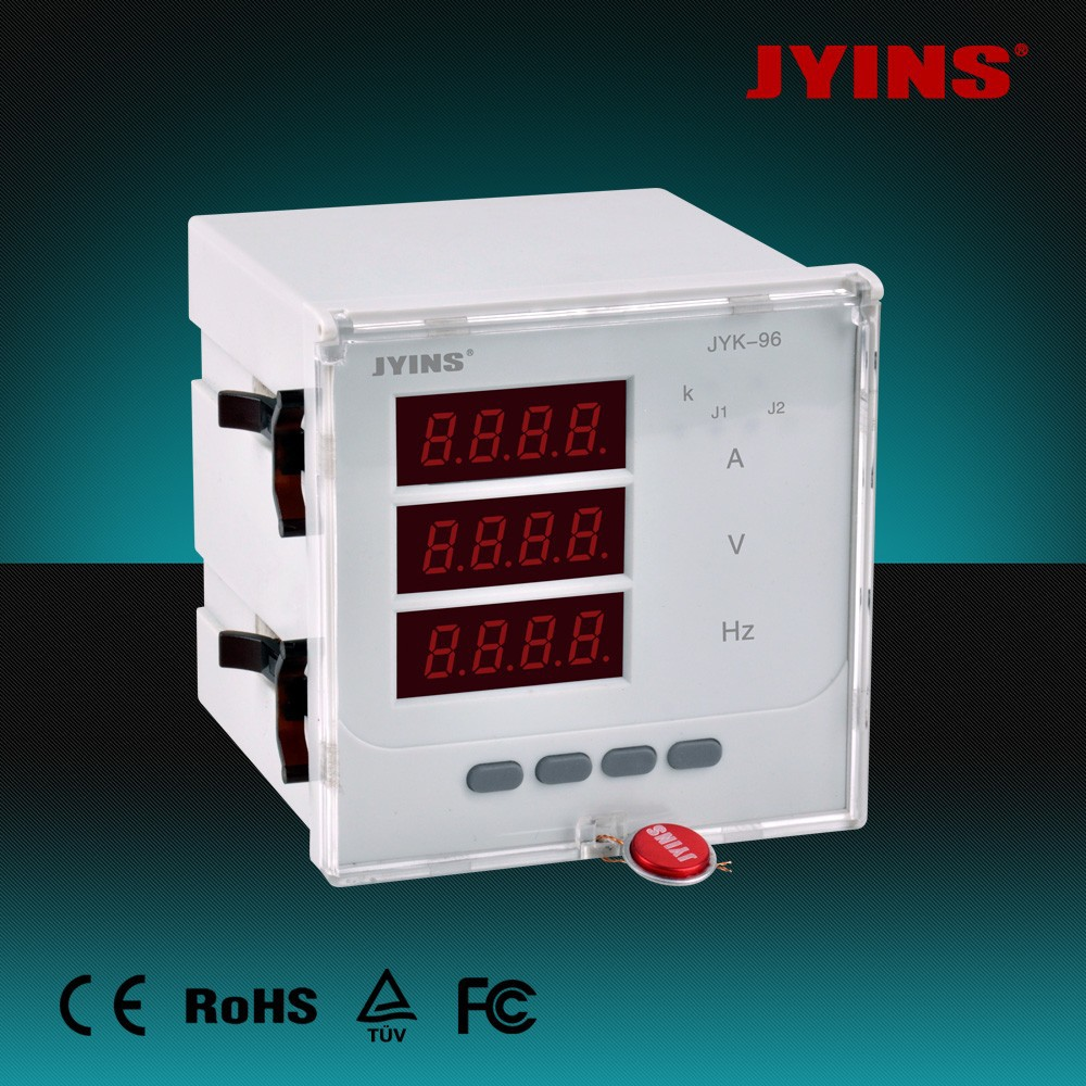 JYINS 96*96mm three phase amp volt HZ meter