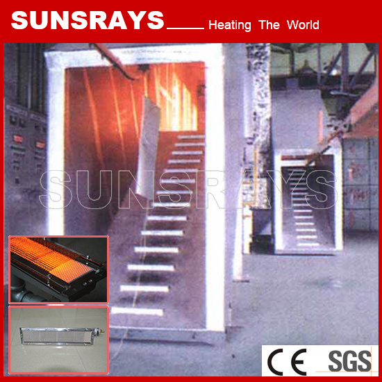 Industrial oven for ceramic tile infrared gas burner