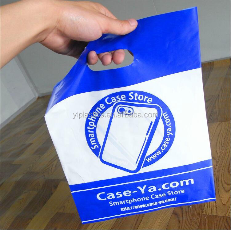 China wholesale patch handle pe die cut large clear plastic bags with your own logo