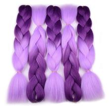 Wholesale 100g 24inch synthetic ombre braiding hair jumbo braid, ombre two tones purple ultra braiding hair extension