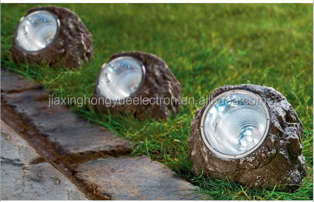 China supplier wholesale decorative led garden lights series color changing Garden Stone Rock Solar Spot Light