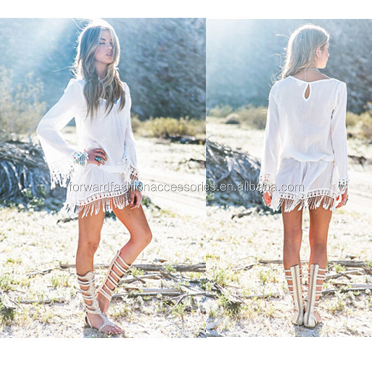 solid white sexy long sleeve fringe short beach tassel dress