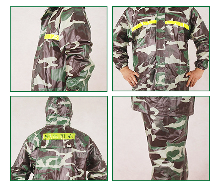 New style split type luminous night suit camouflage woodland raincoat