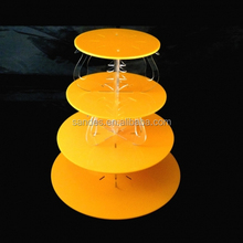 Acrylic Tower Cupcake Display Countertop Decorative Orange Lucite Circle Wedding Pyramid Unique Cake Stand