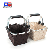 Aluminum handled canvas shopping basket
