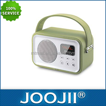 New Portable leather finish wooden retro FM radio with bluetooth function