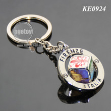Italy Firenze Souvenirs Customized Spinning Scenery Dice Rotate Metal Revolve Dice Key Ring