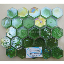 300x300 hot sale green colored glaze hexagon mosaic tile