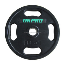 Crossfit Custom Logo Black 4 Grip Barbell Rubber Coated Weight Plate