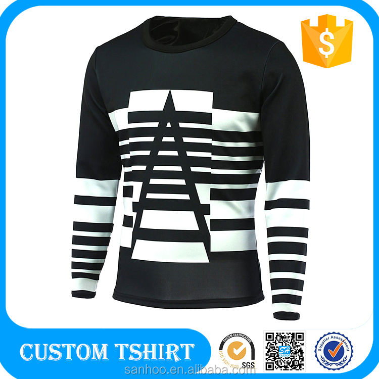 Facotry Custom Long Sleeve Men White 100 Polyester Sublimation T Shirt