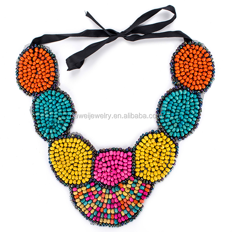 2017 new trency colorful bead bib necklace,handmade <strong>jewelry</strong> wholesale