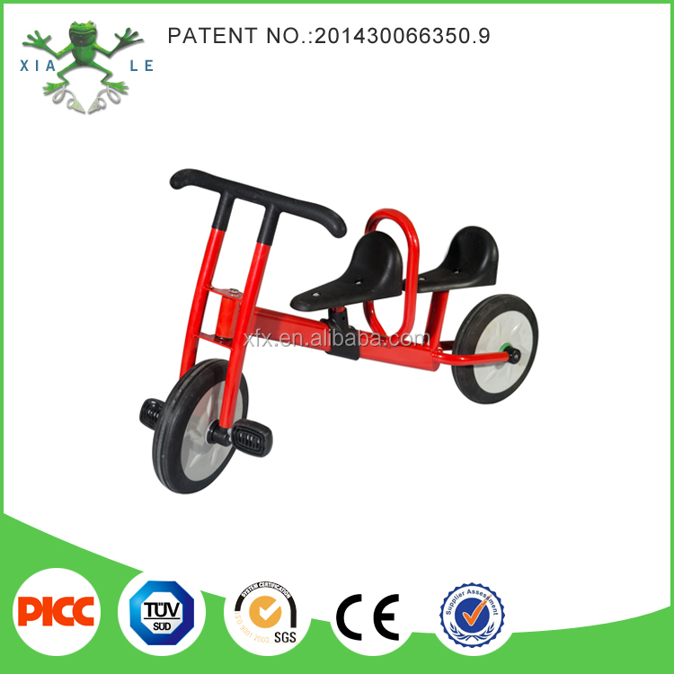 Steel frame children tricycle for twins