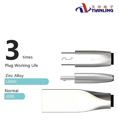 OEM zinc alloy head micro USB 2.0 cable for android