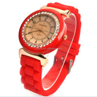 Geneva Silicone Golden Crystal Stone Quartz Ladies/Women/Girl Jelly Wrist Watch Candy Colors women dress watches