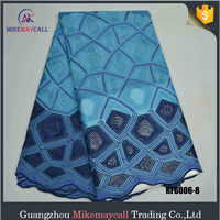 High Quality Blue color African Cotton Dry Lace Fabric nigerian lace fabrics rhinestone Swiss voile 100% cotton organza