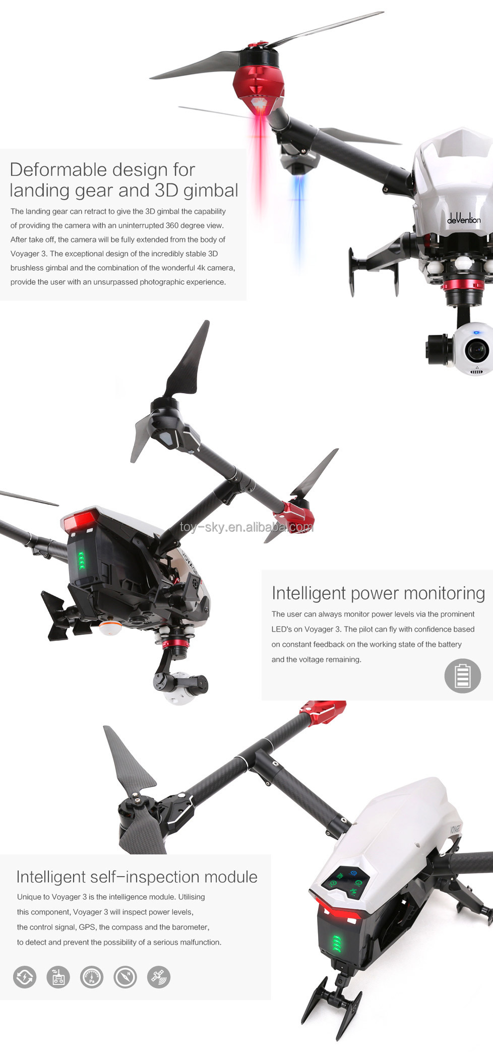 Walkera Voyager 3 Collapsible Flying Bird GPS And Glonass Drone FPV RC Quadcopter With 4K Camera